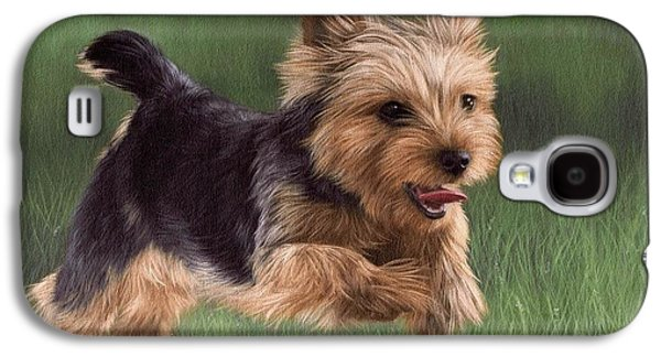 Dog Running. Galaxy S4 Cases - Yorkshire Terrier Painting Galaxy S4 Case by Rachel Stribbling