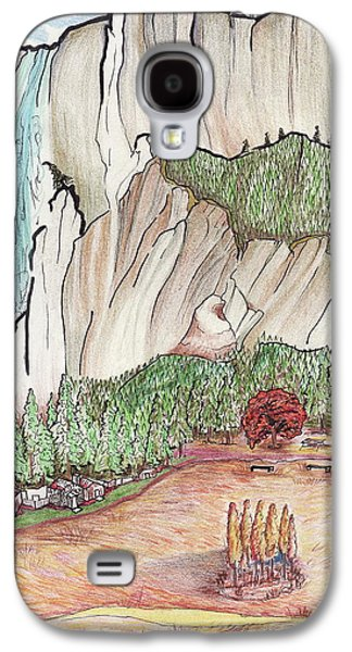 Park Scene Drawings Galaxy S4 Cases - Yosemite Falls Galaxy S4 Case by Merrily McCarthy