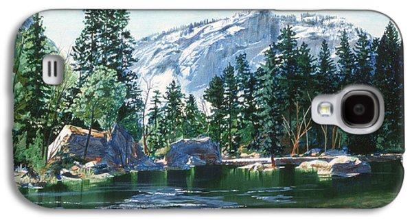 Half Dome Paintings Galaxy S4 Cases - Yosemite Mirror Lake Galaxy S4 Case by Lynn Hansen