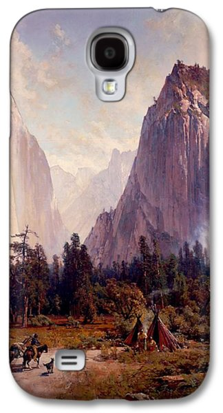 Park Scene Drawings Galaxy S4 Cases - Yosemite Valley Galaxy S4 Case by Celestial Images