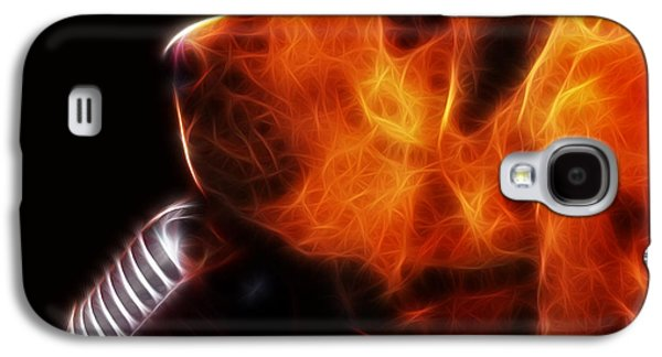 Puppy Digital Art Galaxy S4 Cases - You Aint Nothing But A Hound Dog - Dark - Electric - With Text Galaxy S4 Case by Wingsdomain Art and Photography