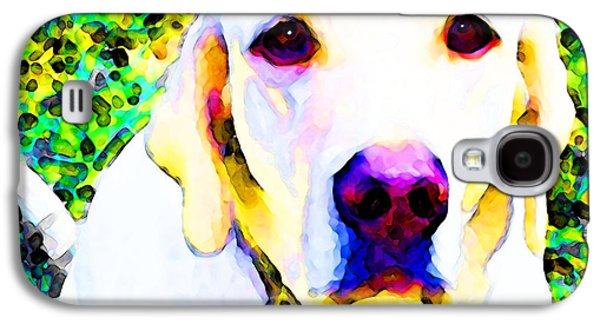 Dog Pop Art Galaxy S4 Cases - You Are My World - Yellow Lab Art Galaxy S4 Case by Sharon Cummings
