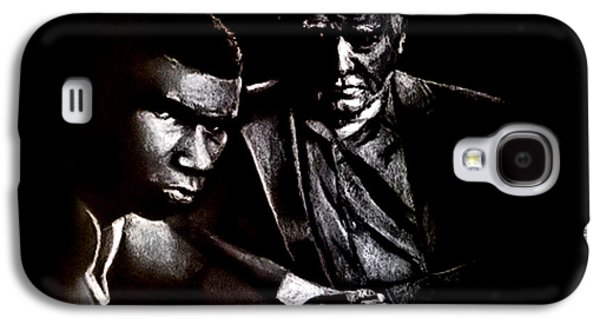 Boxer Drawings Galaxy S4 Cases - Young boxer and soon to be World Champion Mike Tyson and trainer Cus DAmato Galaxy S4 Case by Jim Fitzpatrick