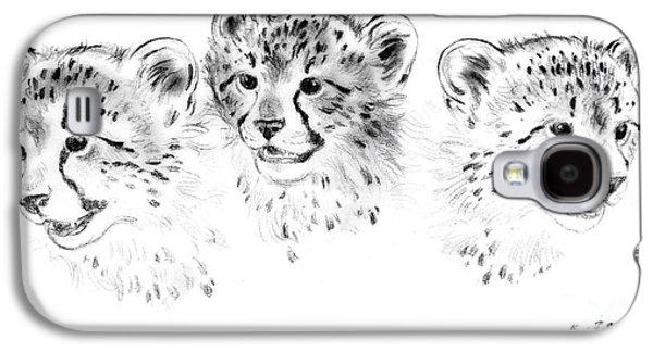 Cheetah Drawings Galaxy S4 Cases - Young cheetahs Galaxy S4 Case by Kurt Tessmann