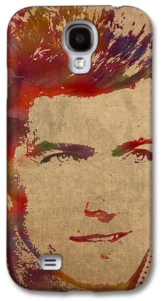 Young Mixed Media Galaxy S4 Cases - Young Clint Eastwood Actor Watercolor Portrait On Worn Parchment Galaxy S4 Case by Design Turnpike