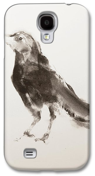Animals Pastels Galaxy S4 Cases - Young Crow Galaxy S4 Case by Janet Goddard