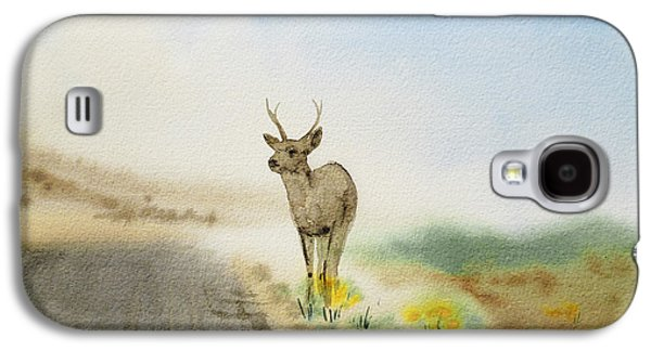 Mist Paintings Galaxy S4 Cases - Young Deer On The Foggy Road Galaxy S4 Case by Irina Sztukowski