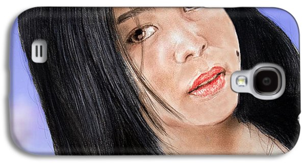 Beauty Mark Mixed Media Galaxy S4 Cases - Young Filipina Beauty with a Mole Model Kaye Anne Toribio  Altered version Galaxy S4 Case by Jim Fitzpatrick