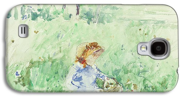 Young Girl Seated On The Lawn Galaxy S4 Case by Berthe Morisot
