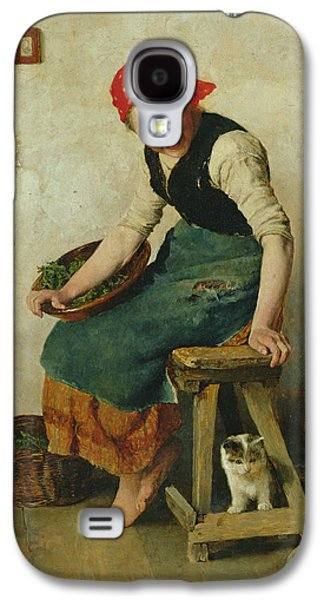 Seated Galaxy S4 Cases - Young Girl With A Cat, 1884 Oil On Paper Galaxy S4 Case by Theodor Schmidt