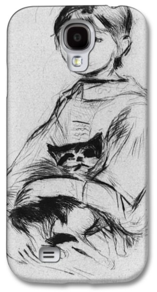 Drypoint Galaxy S4 Cases - Young girl with cat Galaxy S4 Case by Berthe Morisot