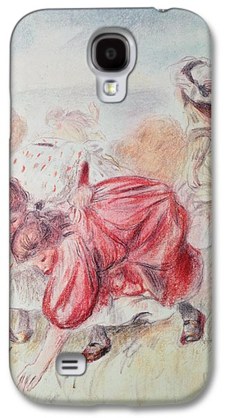 Drawing Galaxy S4 Cases - Young Girls Playing Coloured Pencil Galaxy S4 Case by Pierre Auguste Renoir