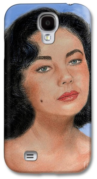Beauty Mark Mixed Media Galaxy S4 Cases - Young Liz Taylor Portrait Remake Version II Galaxy S4 Case by Jim Fitzpatrick