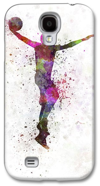 Dunk Paintings Galaxy S4 Cases - Young Man Basketball Player Dunking Galaxy S4 Case by Pablo Romero