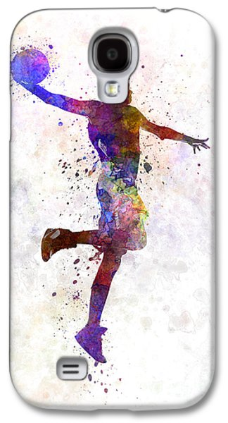Dunk Paintings Galaxy S4 Cases - Young Man Basketball Player One Hand Slam Dunk Galaxy S4 Case by Pablo Romero