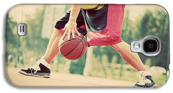 Basket Ball Game Galaxy S4 Cases - Young man on basketball court dribbling with ball Galaxy S4 Case by Michal Bednarek