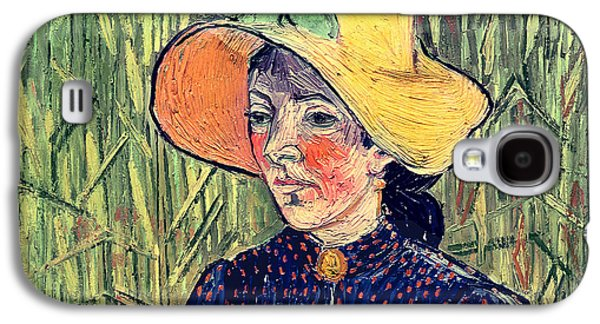 Young Peasant Girl In A Straw Hat Sitting In Front Of A Wheatfield Galaxy S4 Case by Vincent van Gogh