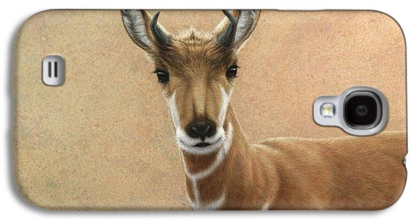Nature Drawings Galaxy S4 Cases - Young Pronghorn Galaxy S4 Case by James W Johnson