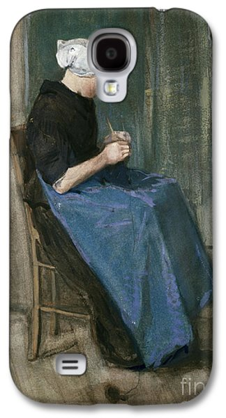 Young Scheveningen Woman Knitting Facing Right Galaxy S4 Case by Vincent van Gogh