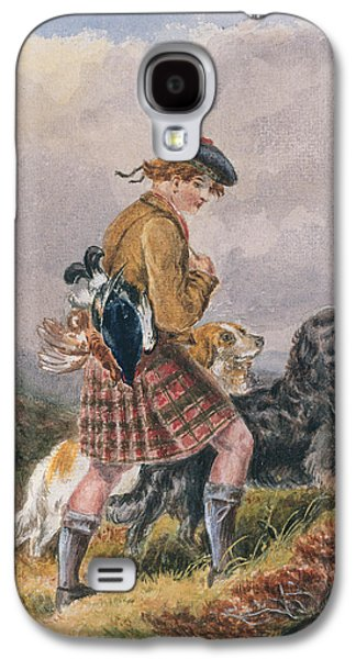 Scottish Dog Galaxy S4 Cases - Young Scottish Gamekeeper with Dead Game Galaxy S4 Case by English School