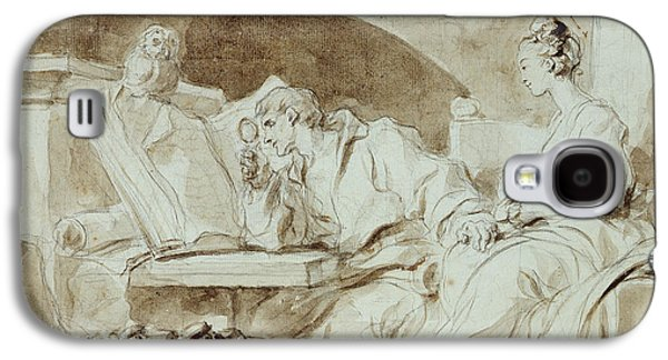 Book Pastels Galaxy S4 Cases - Young Woman consulting a Necromancer Galaxy S4 Case by Jean-Honore Fragonard