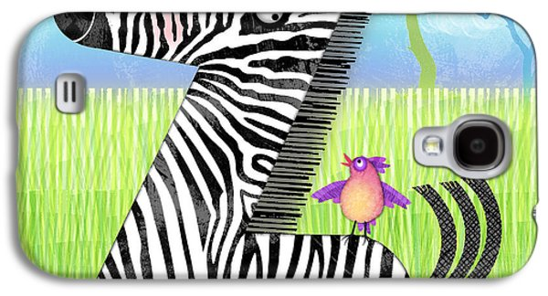 Nature Scene Mixed Media Galaxy S4 Cases - Z is for Zebra Galaxy S4 Case by Valerie   Drake Lesiak