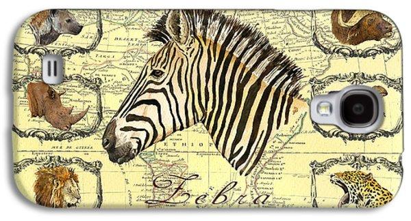 Buffalo Art Digital Art Galaxy S4 Cases - Zebra African map heads Galaxy S4 Case by Juan  Bosco