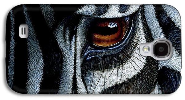 African Paintings Galaxy S4 Cases - Zebra Galaxy S4 Case by Jurek Zamoyski