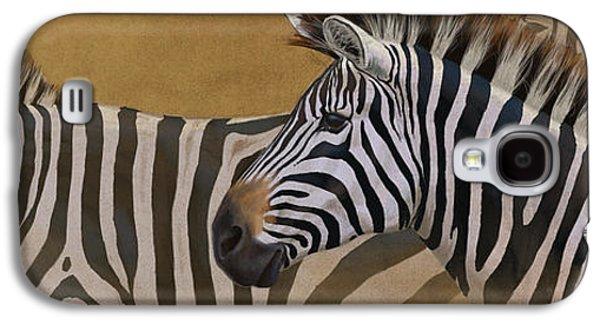 Zebra Digital Art Galaxy S4 Cases - Zebra Trio Galaxy S4 Case by Aaron Blaise