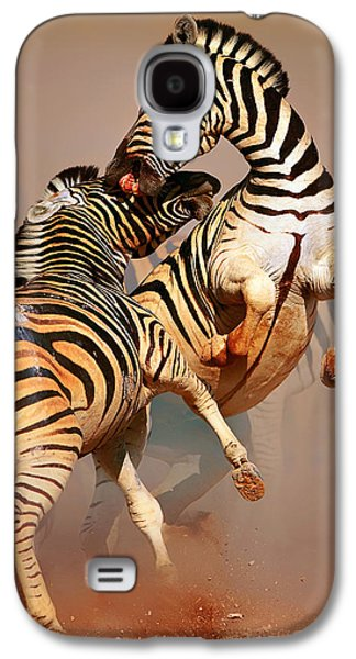 Closeup Galaxy S4 Cases - Zebras fighting Galaxy S4 Case by Johan Swanepoel