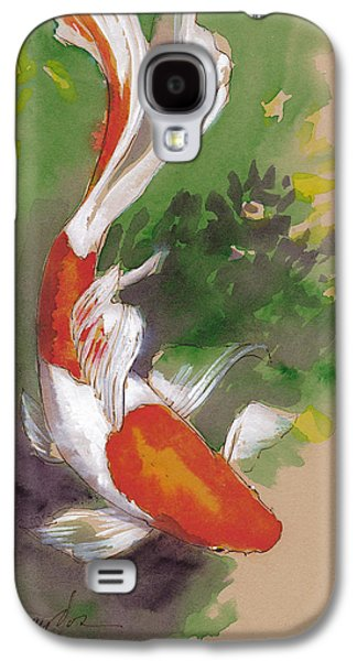 Goldfish Mixed Media Galaxy S4 Cases - Zen Comet Goldfish Galaxy S4 Case by Tracie Thompson