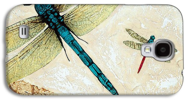 Flies Mixed Media Galaxy S4 Cases - Zen Flight - Dragonfly Art By Sharon Cummings Galaxy S4 Case by Sharon Cummings