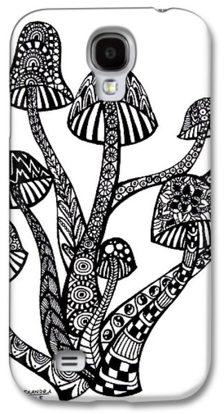 Trippy Drawings Galaxy S4 Cases - Zen Mushrooms Galaxy S4 Case by Alexandra Nicole Newton