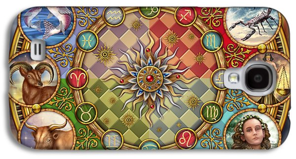 Jester Digital Art Galaxy S4 Cases - Zodiac Mandala Galaxy S4 Case by Ciro Marchetti