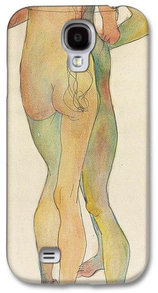 Portraiture Drawings Galaxy S4 Cases - Zwei Stehende Akte Galaxy S4 Case by Egon Schiele