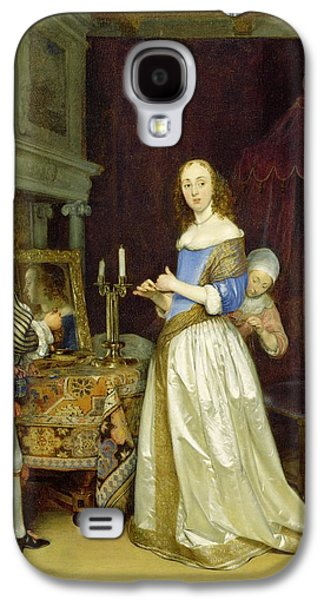 Dressing Room Galaxy S4 Cases -  A Lady at Her Toilet Galaxy S4 Case by Gerard ter Borch