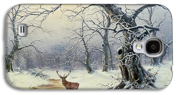 Trees In Snow Galaxy S4 Cases -  A Stag in a Wooded Landscape  Galaxy S4 Case by Nils Hans Christiansen