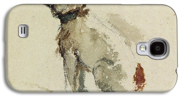 Terrier Galaxy S4 Cases -  A Terrier - sitting facing left Galaxy S4 Case by Peter de Wint
