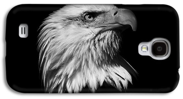 American Independance Photographs Galaxy S4 Cases -  Black and White American Eagle Galaxy S4 Case by Steve McKinzie