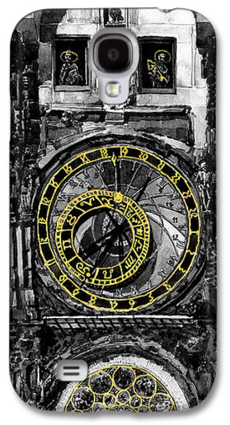 Old Town Digital Art Galaxy S4 Cases -  BW Prague The Horologue at OldTownHall Galaxy S4 Case by Yuriy  Shevchuk