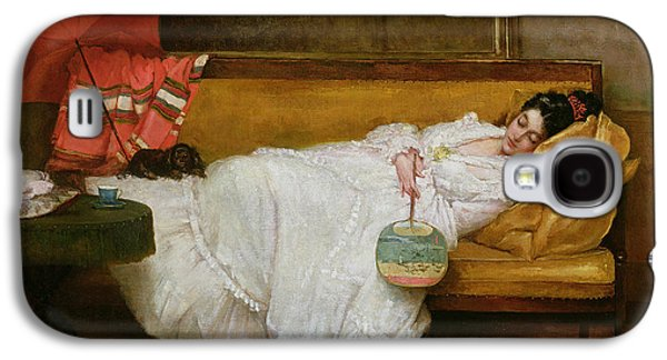 Girl In A White Dress Resting On A Sofa Galaxy S4 Case by Alfred Emile Stevens