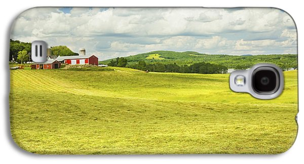 Maine Farms Galaxy S4 Cases -  Hay harvesting In Field Outside Red Barn Maine Galaxy S4 Case by Keith Webber Jr