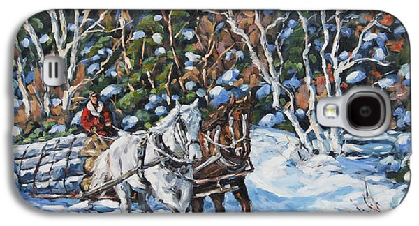 Montreal Paintings Galaxy S4 Cases -  Horses Hauling wood in winter by Prankearts Galaxy S4 Case by Richard T Pranke