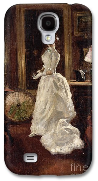 Night Lamp Paintings Galaxy S4 Cases -  Interior scene with a lady in a white evening dress  Galaxy S4 Case by Paul Fischer