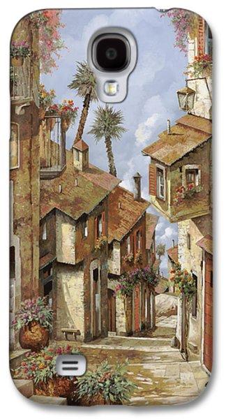 Vase Paintings Galaxy S4 Cases -  Le Palme Sul Tetto Galaxy S4 Case by Guido Borelli