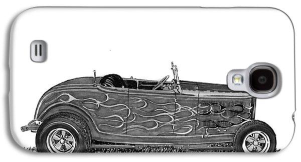 80s Drawings Galaxy S4 Cases - 1932 Ford Hi Boy Hot Rod Galaxy S4 Case by Jack Pumphrey