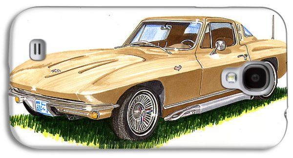 Pen And Ink Framed Prints Galaxy S4 Cases - 1964 Corvette Galaxy S4 Case by Jack Pumphrey