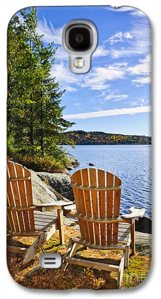 Recently Sold -  - Landscapes Photographs Galaxy S4 Cases - Adirondack chairs at lake shore Galaxy S4 Case by Elena Elisseeva
