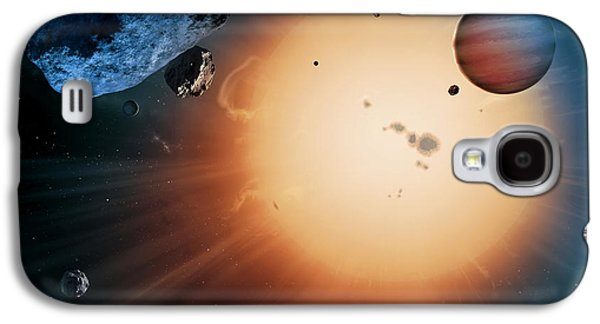 Planetoid Galaxy S4 Cases - Alien Planet And Asteroid, Artwork Galaxy S4 Case by Detlev Van Ravenswaay