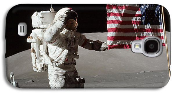 Outer Space Galaxy S4 Cases - Apollo 17 Astronaut Salutes The United Galaxy S4 Case by Stocktrek Images